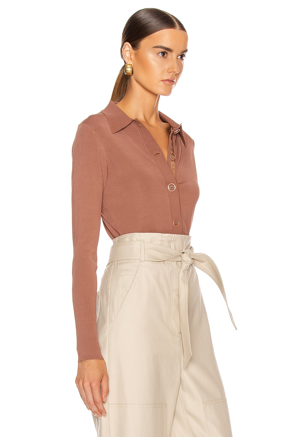 Image 2 of Dion Lee Density Cropped Cardigan Top in Copper