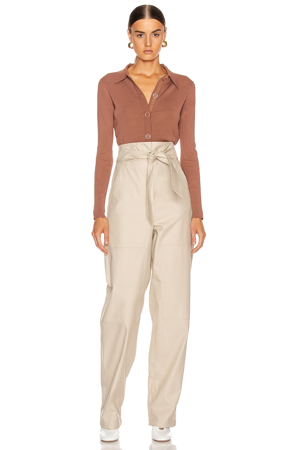 Image 4 of Dion Lee Density Cropped Cardigan Top in Copper