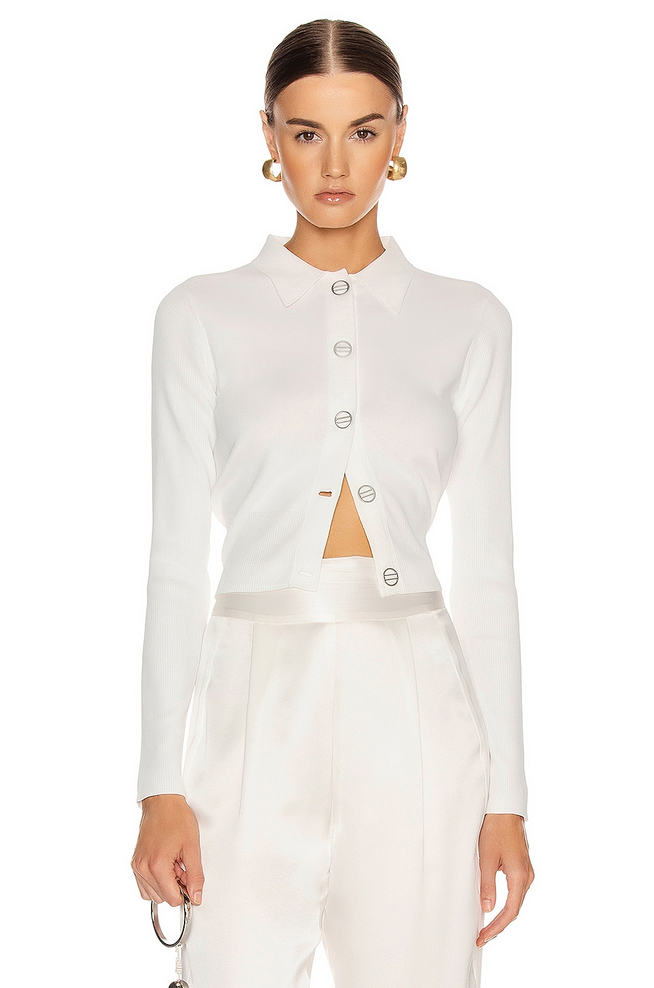 Image 1 of Dion Lee Density Cropped Cardigan Top in Ivory