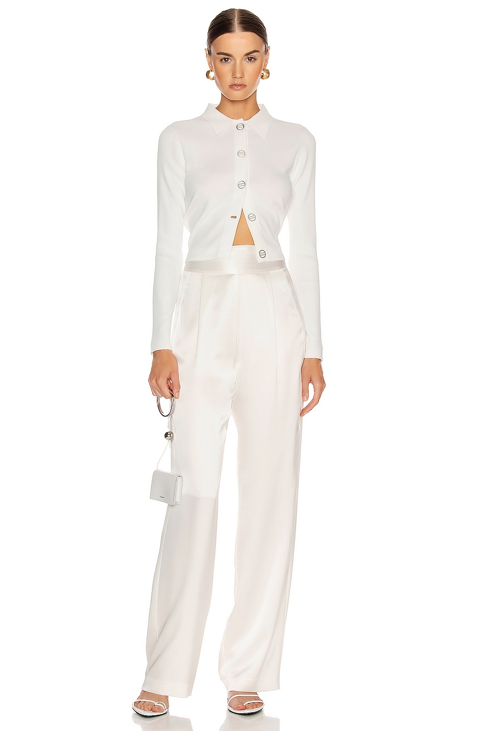 Image 4 of Dion Lee Density Cropped Cardigan Top in Ivory