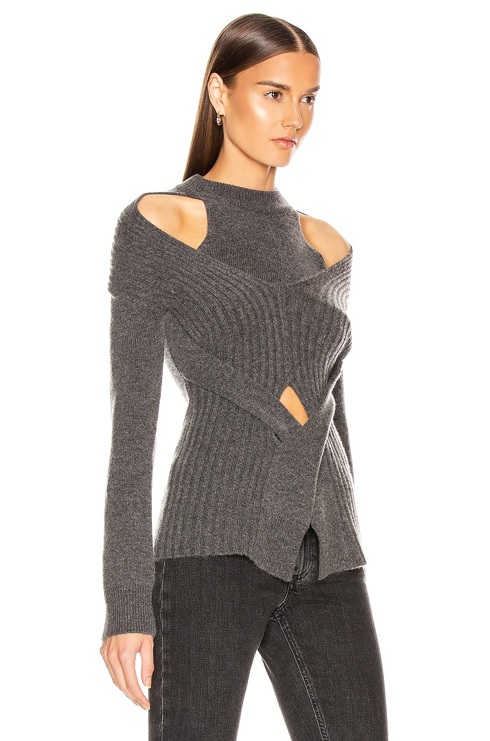 Image 2 of Dion Lee Cashmere Cable Tie Sweater in Charcoal