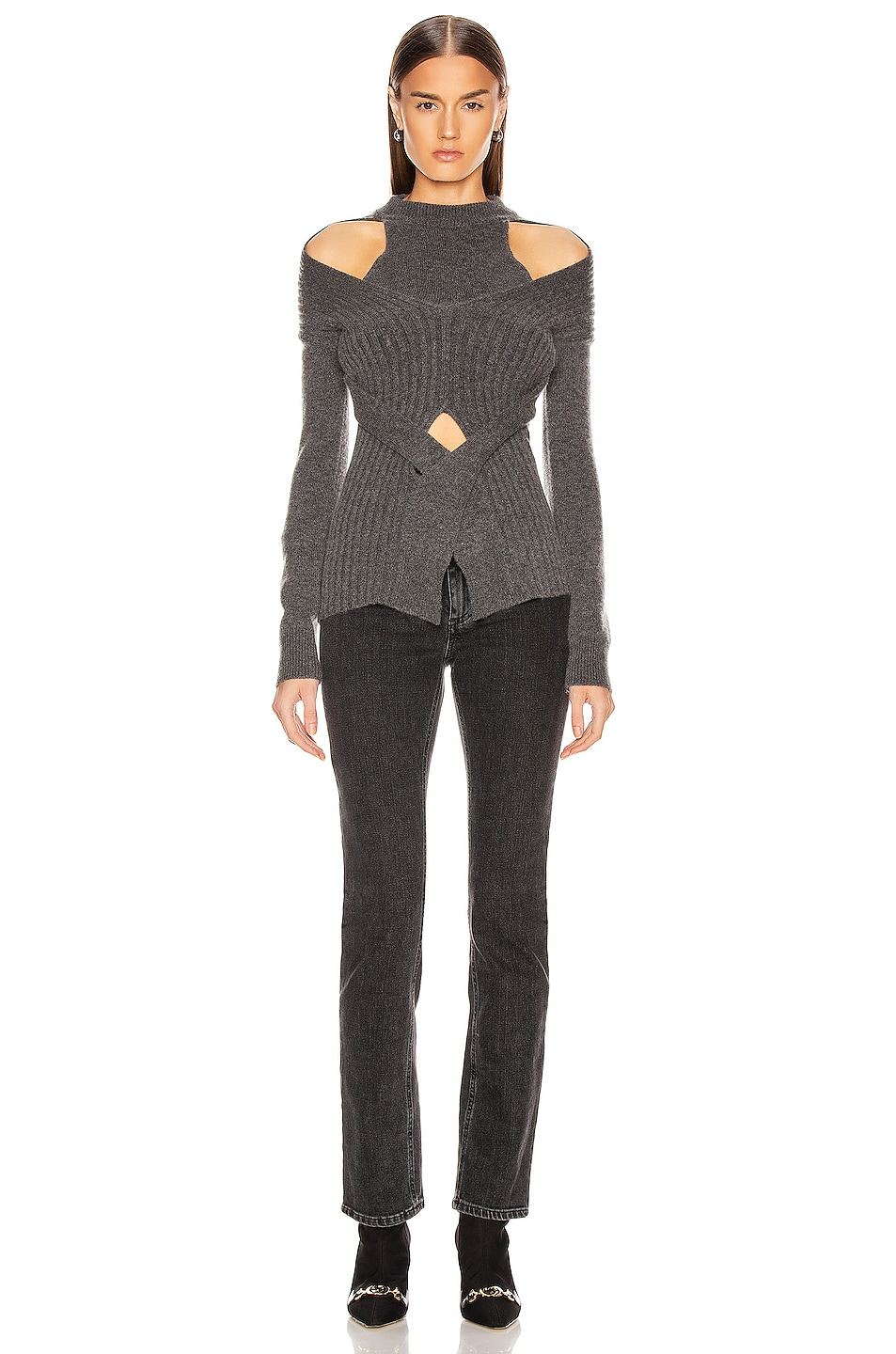 Image 4 of Dion Lee Cashmere Cable Tie Sweater in Charcoal