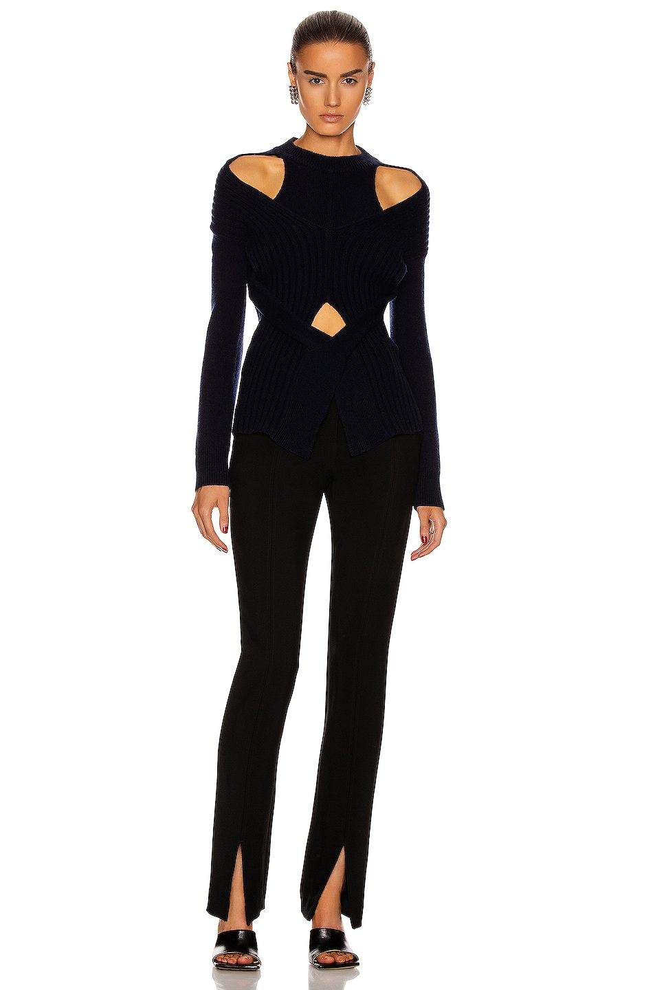 Image 4 of Dion Lee Cashmere Cable Tie Sweater in Ink