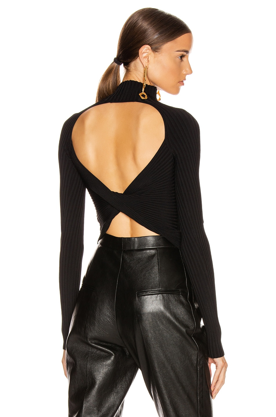 Image 1 of Dion Lee Twist Back Long Sleeve Sweater in Black