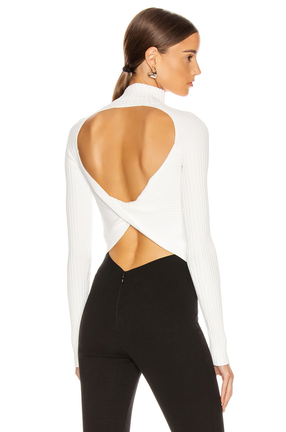 Image 1 of Dion Lee Twist Back Long Sleeve Sweater in Ivory