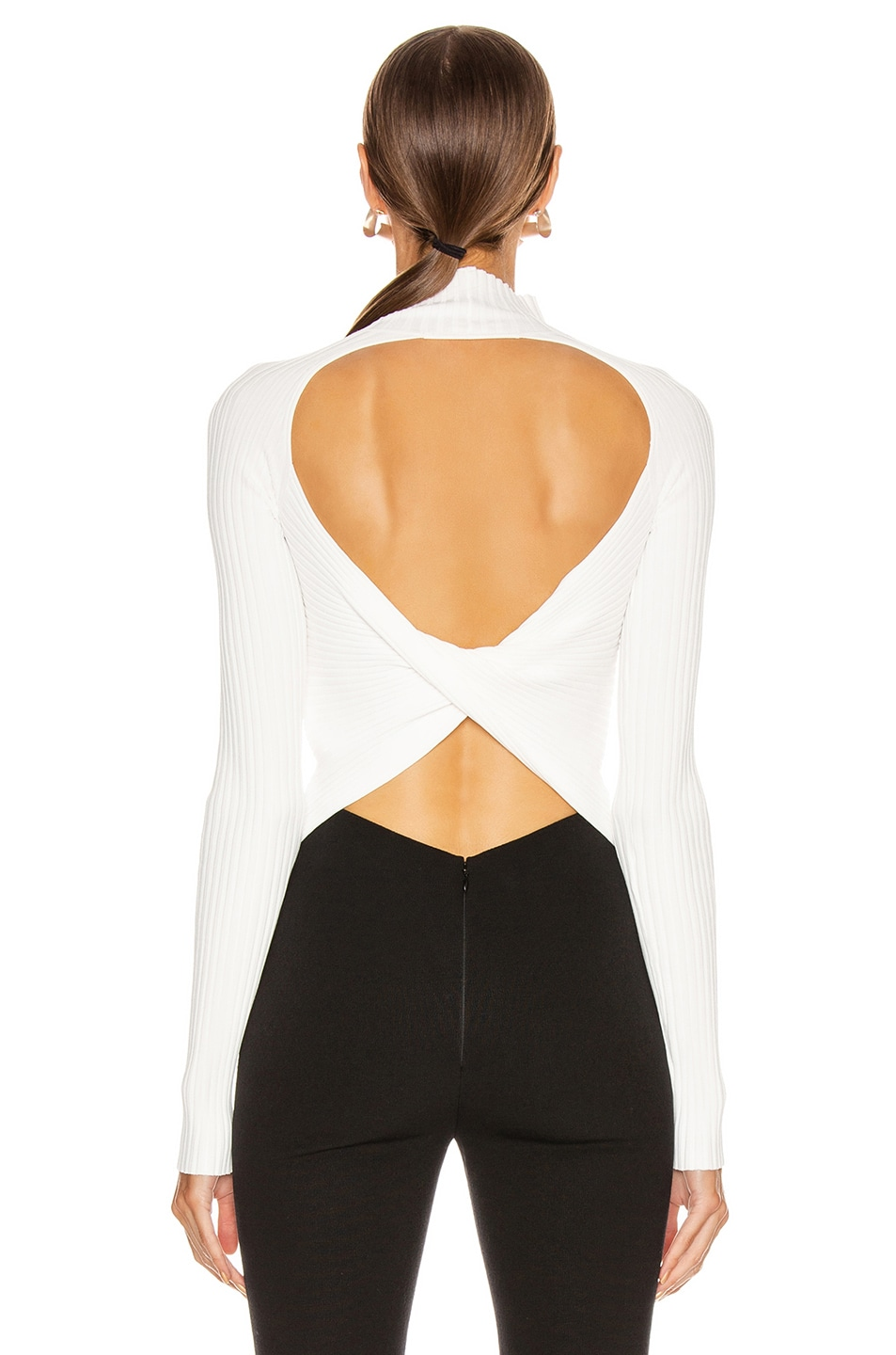 Image 4 of Dion Lee Twist Back Long Sleeve Sweater in Ivory