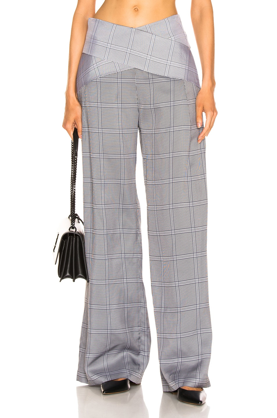 Image 1 of Dion Lee Check Viscose Pant in Navy Check