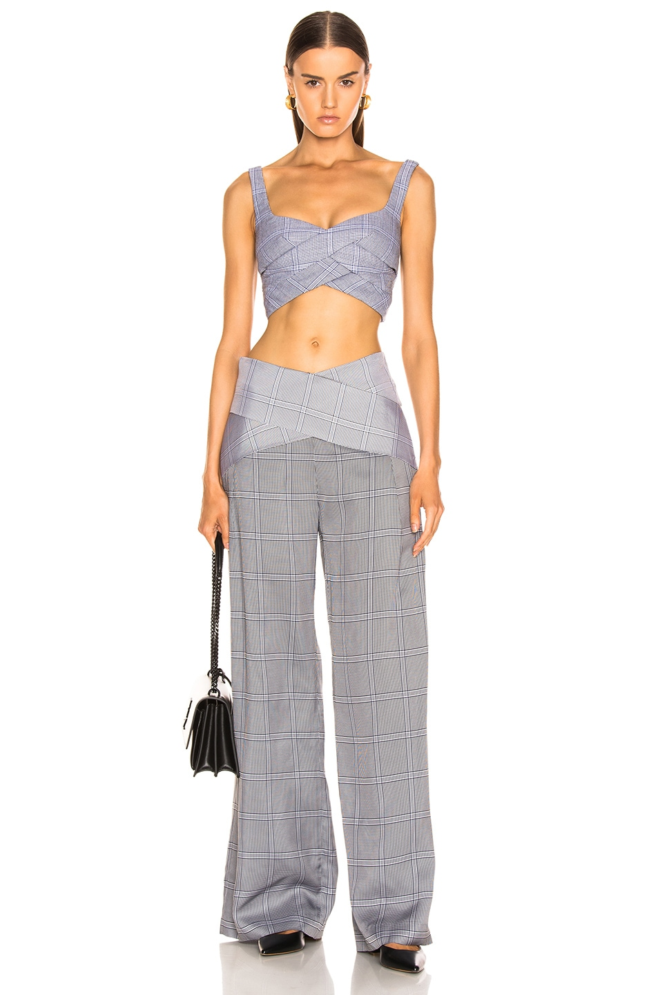Image 4 of Dion Lee Check Viscose Pant in Navy Check