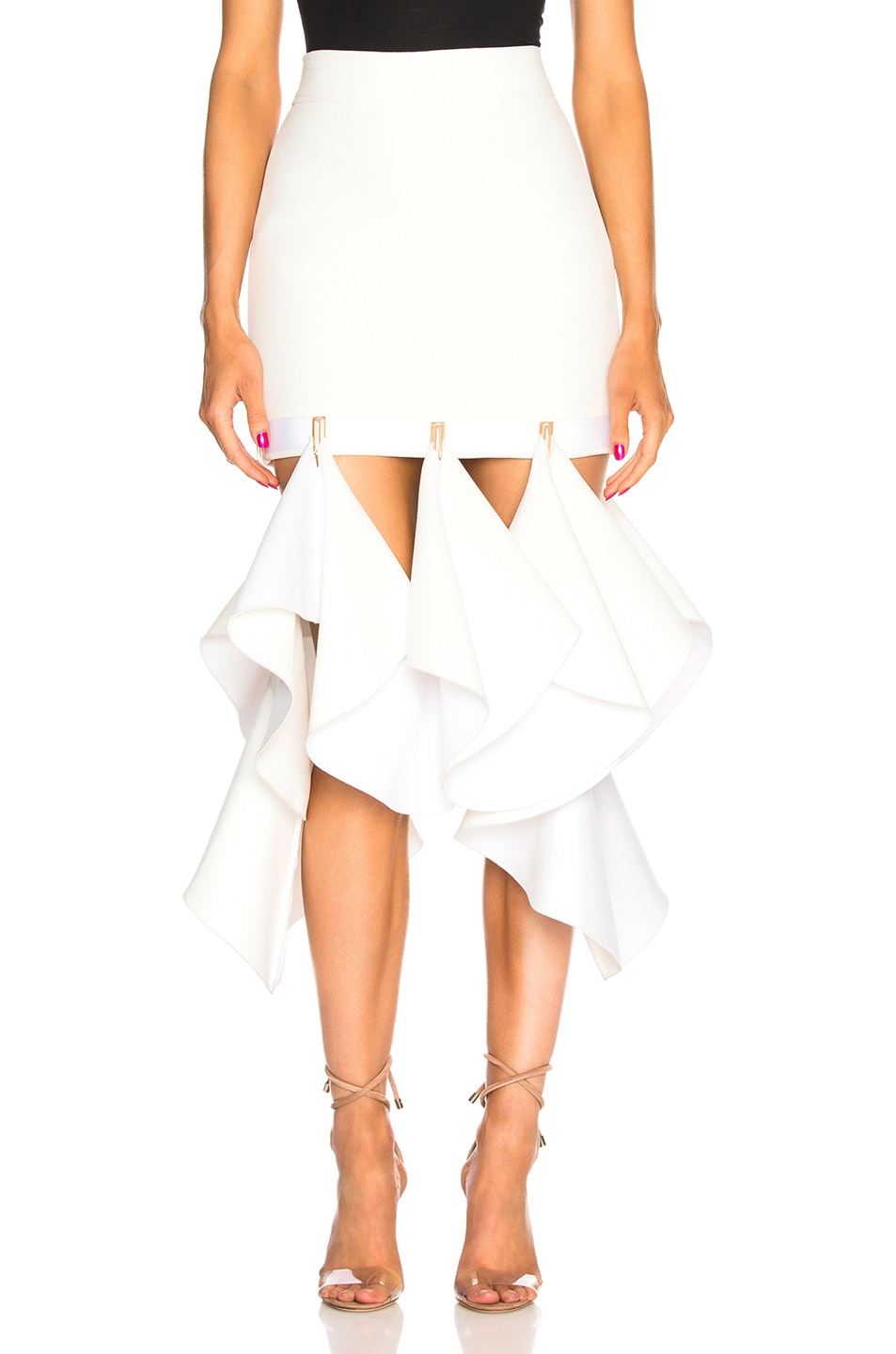 Image 1 of Dion Lee Suspended Hook Mini Skirt in Ivory
