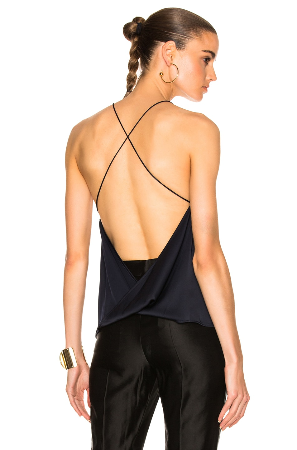 Image 1 of Dion Lee Satin Fine Line Cami Top in Navy
