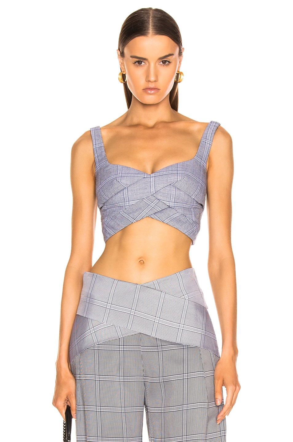 Image 1 of Dion Lee Double Faced Check Bustier in Navy Check