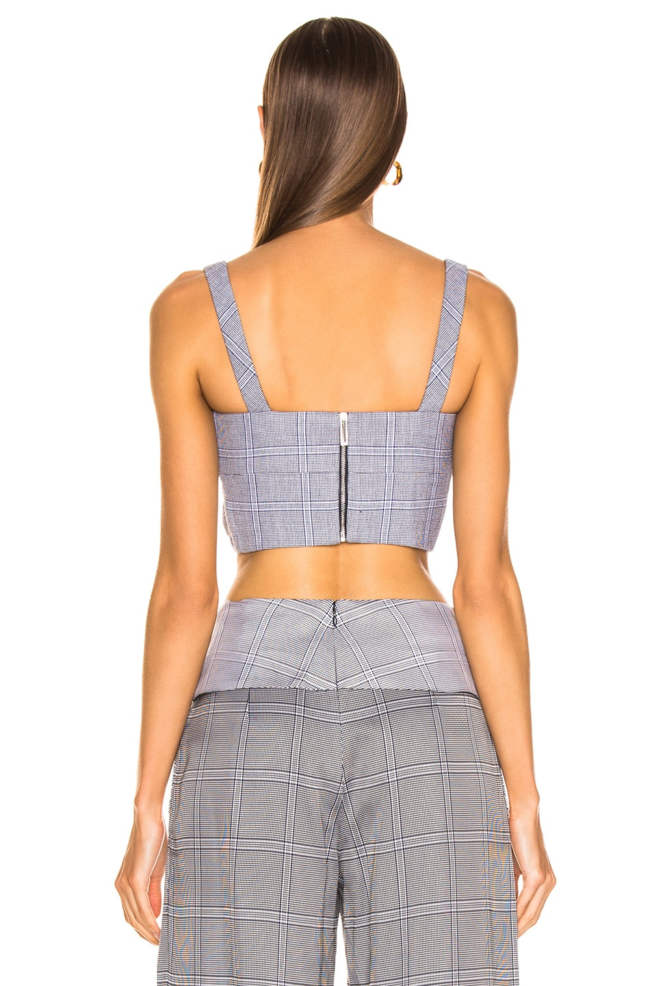 Image 3 of Dion Lee Double Faced Check Bustier in Navy Check