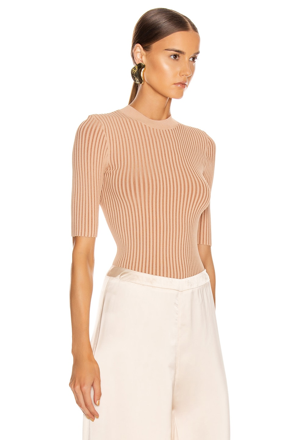 Image 2 of Dion Lee Stripe Rib Tee in Copper