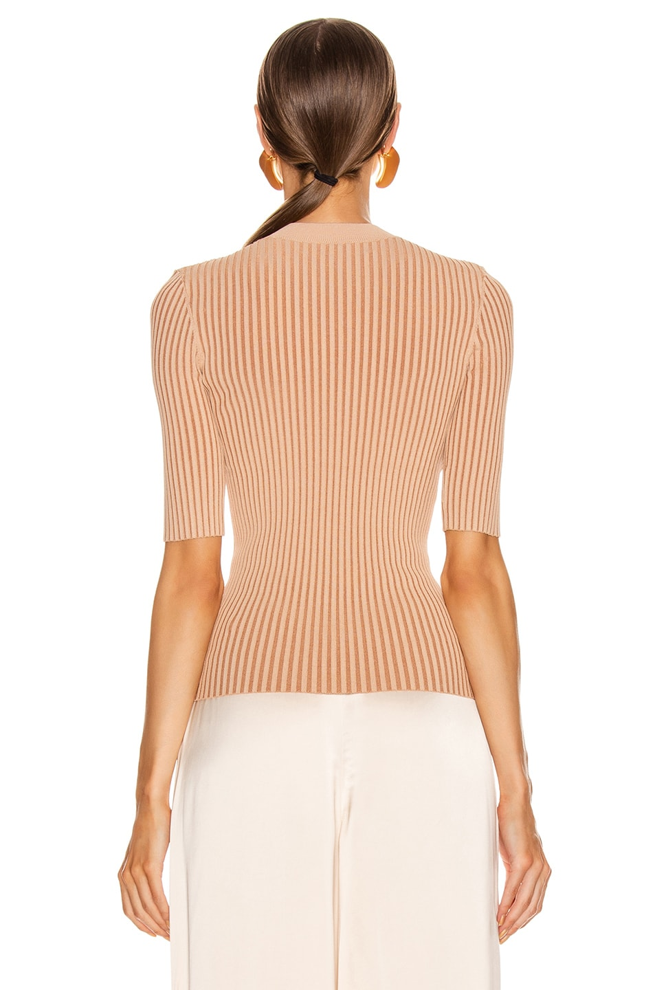 Image 3 of Dion Lee Stripe Rib Tee in Copper