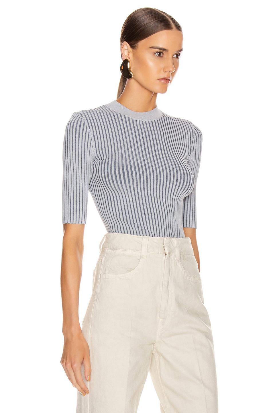 Image 2 of Dion Lee Stripe Rib Tee in Dove