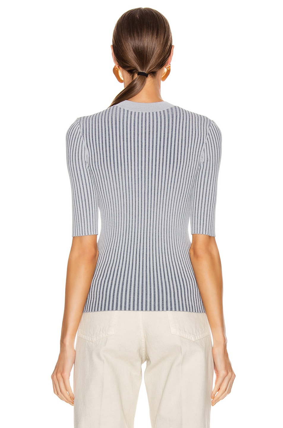 Image 3 of Dion Lee Stripe Rib Tee in Dove