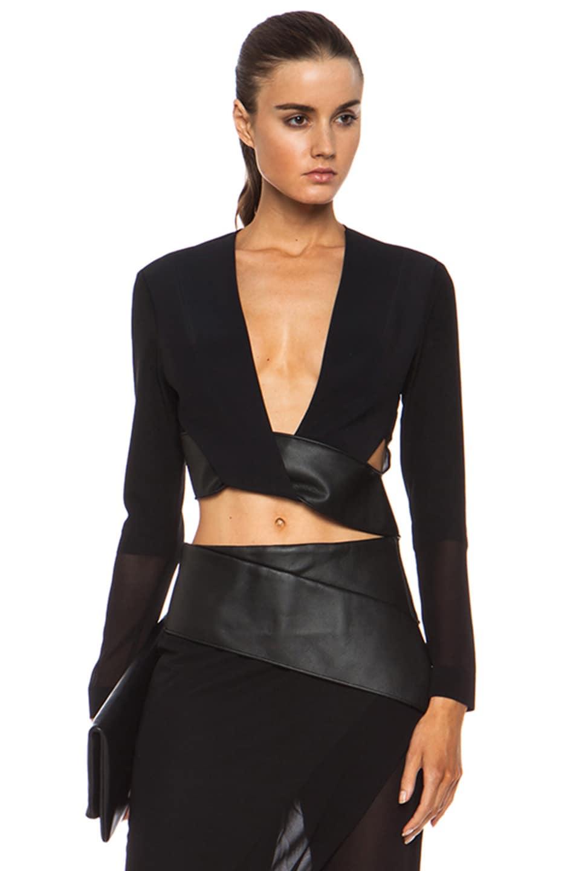 Image 1 of Dion Lee Orbit Belted Silk Blouse in Black