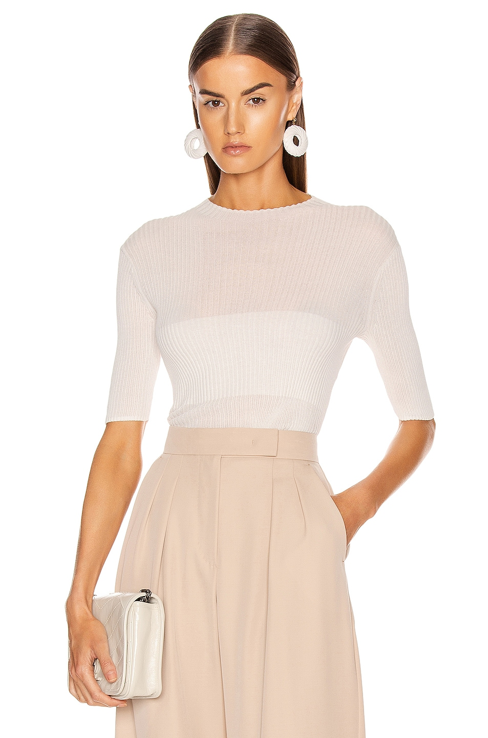 Image 1 of Dion Lee Cotton Rib Tee in Ivory