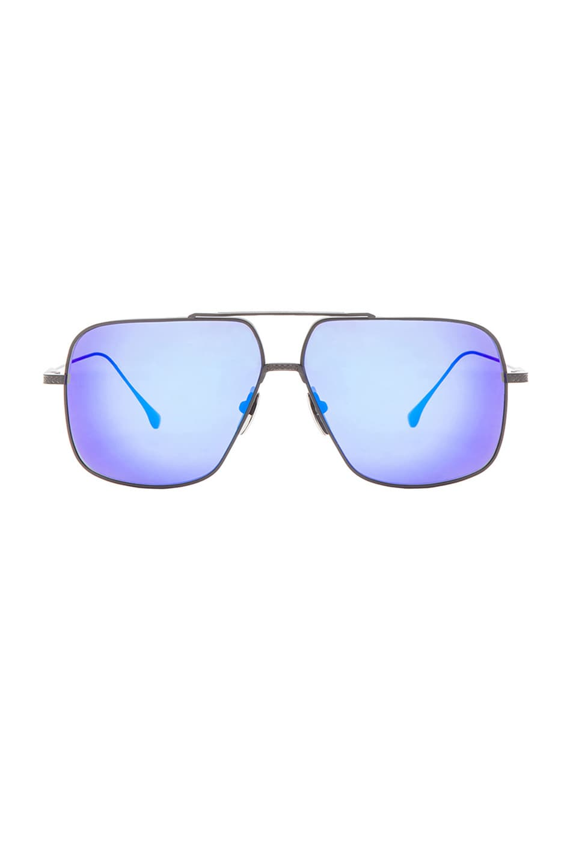 Image 1 of Dita Flight .005 Sunglasses in Matte Black & Blue Mirror