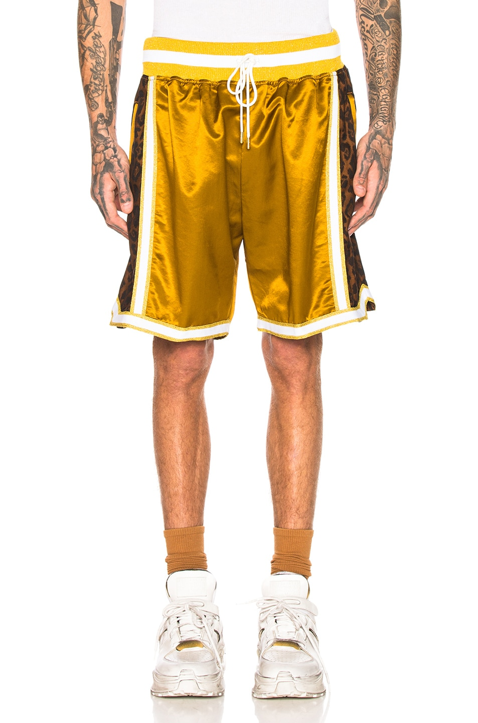 Image 1 of Just Don Jungle Satin Basketball Short in Gold