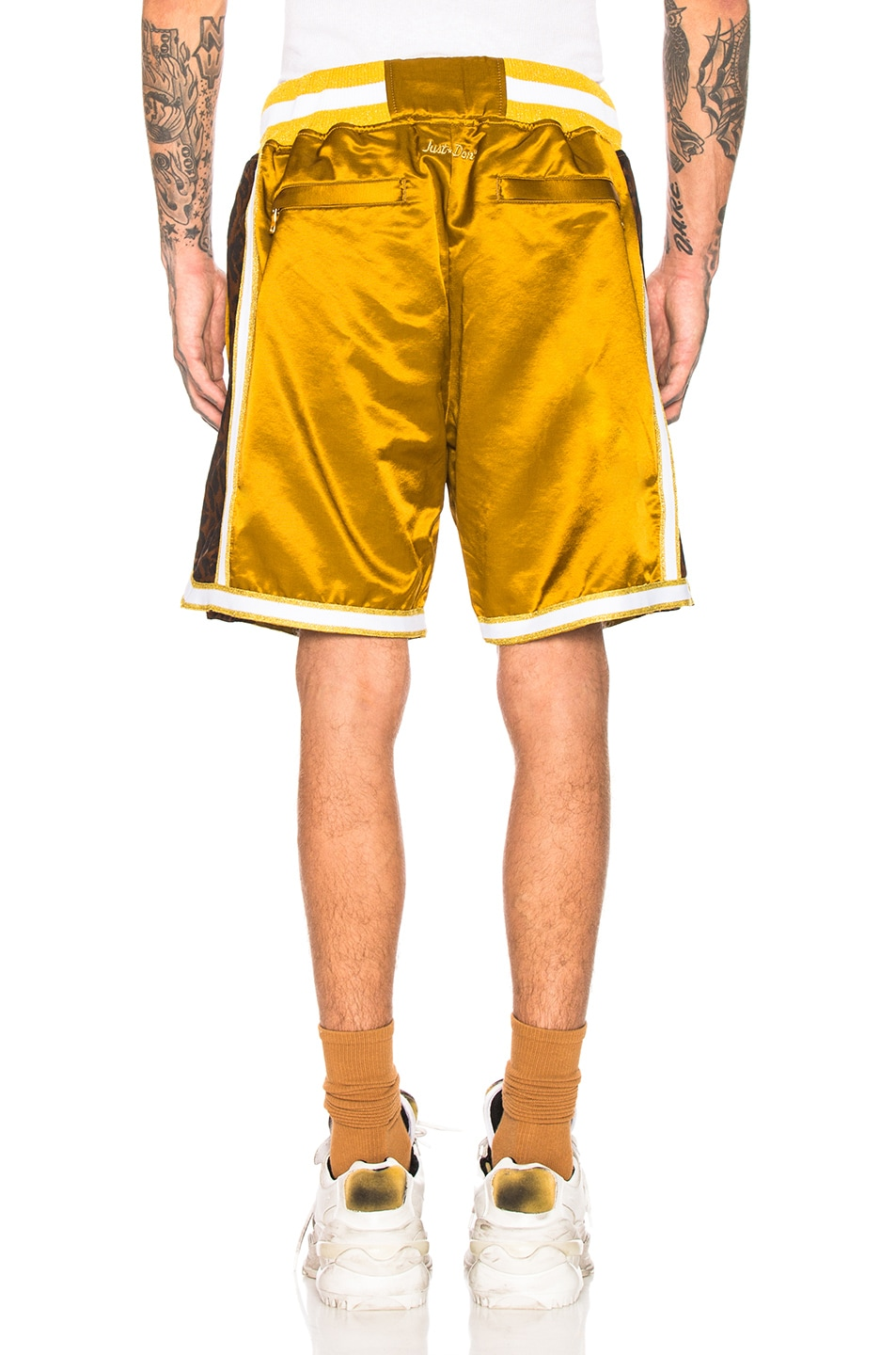 Image 3 of Just Don Jungle Satin Basketball Short in Gold