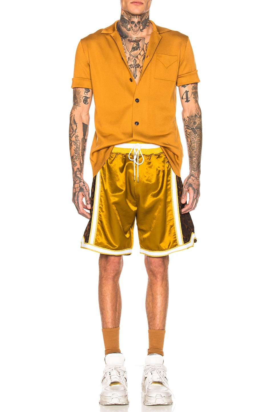 Image 4 of Just Don Jungle Satin Basketball Short in Gold