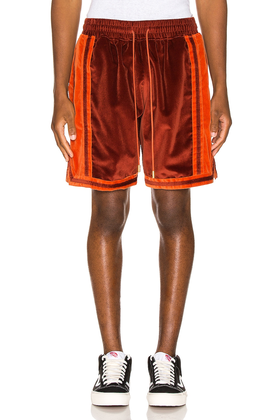 Image 2 of Just Don Velvet Basketball Short in Red