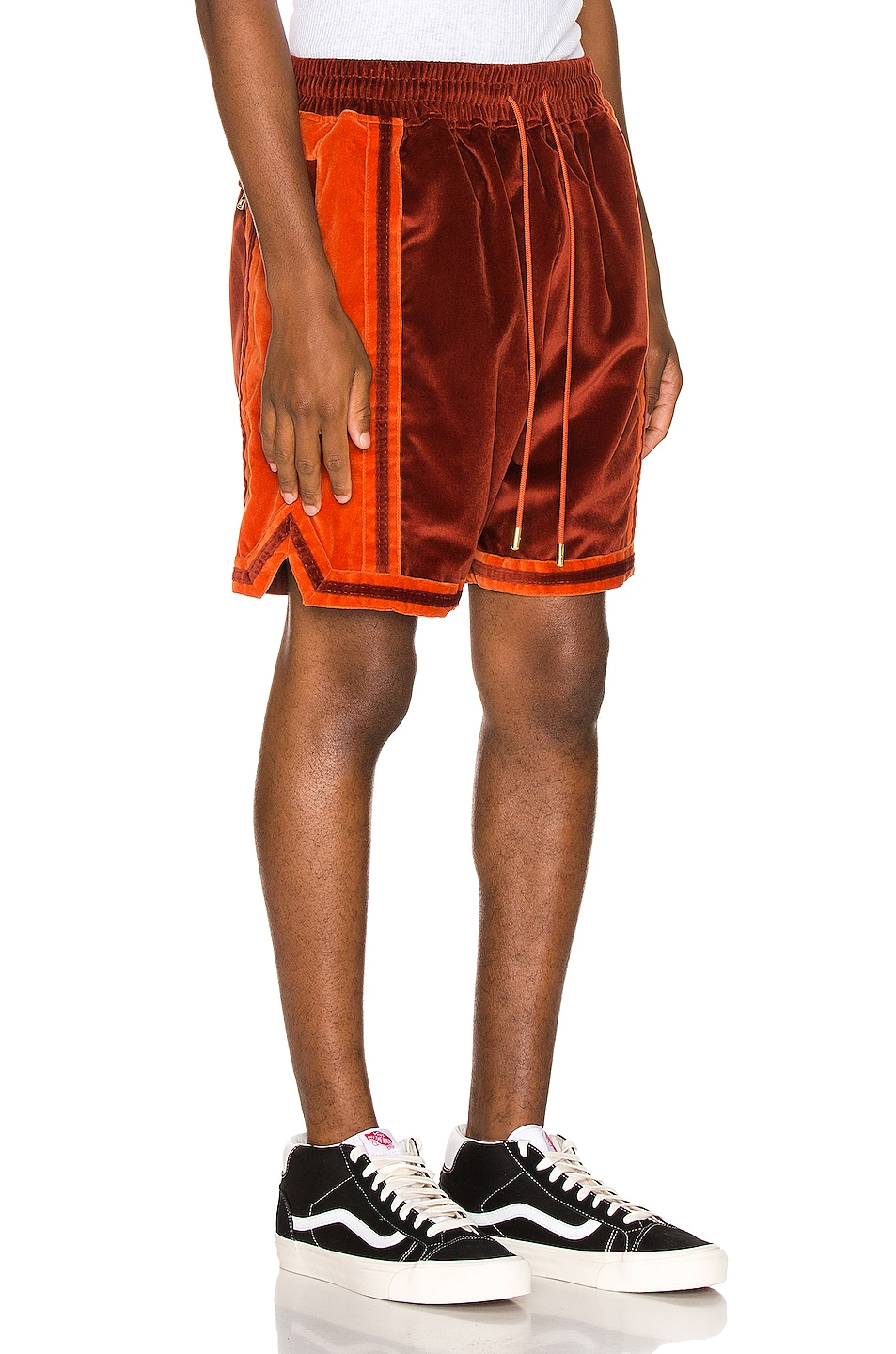 Image 3 of Just Don Velvet Basketball Short in Red