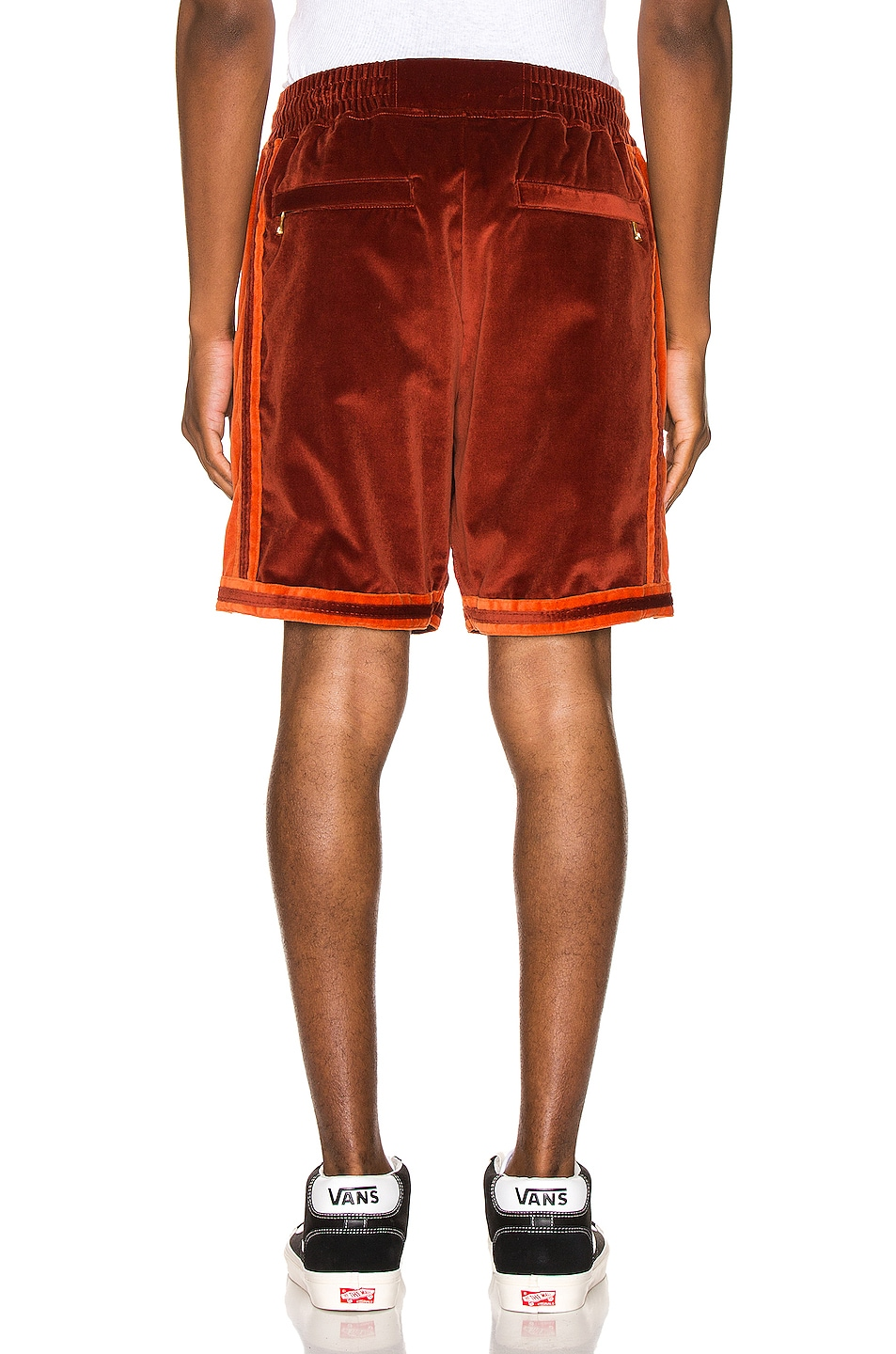 Image 4 of Just Don Velvet Basketball Short in Red