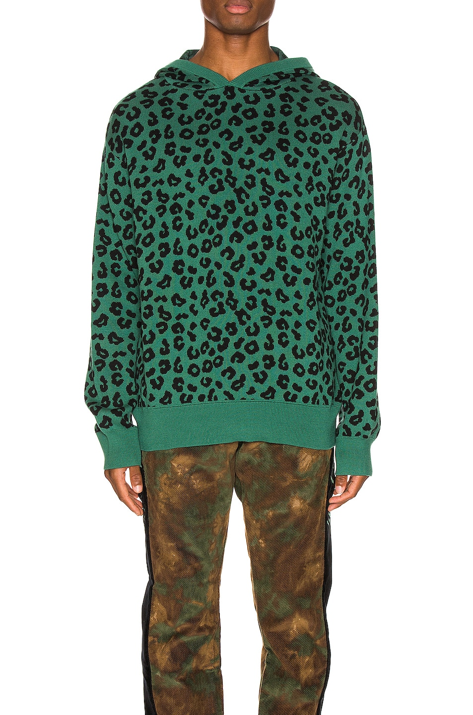 Image 1 of Just Don Jungle Leopard Sweater Hoodie in Green