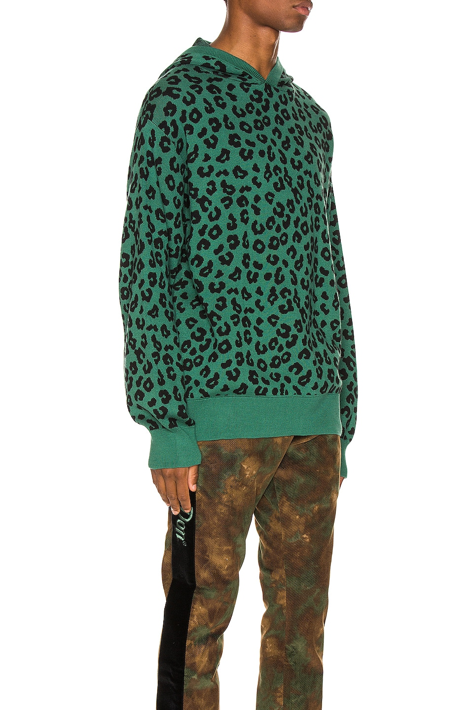 Image 2 of Just Don Jungle Leopard Sweater Hoodie in Green