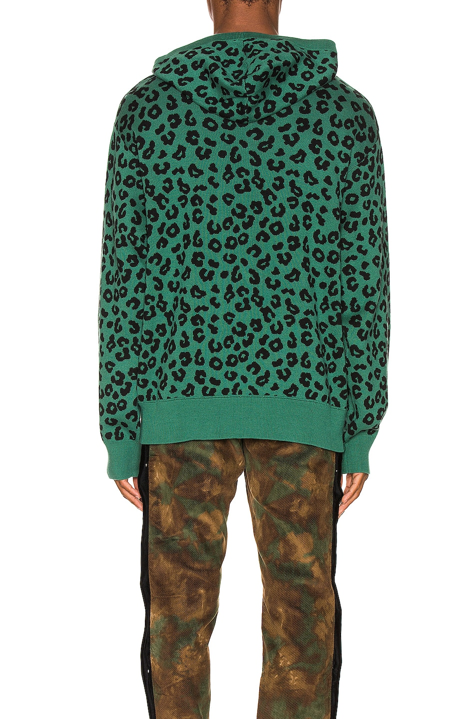 Image 3 of Just Don Jungle Leopard Sweater Hoodie in Green