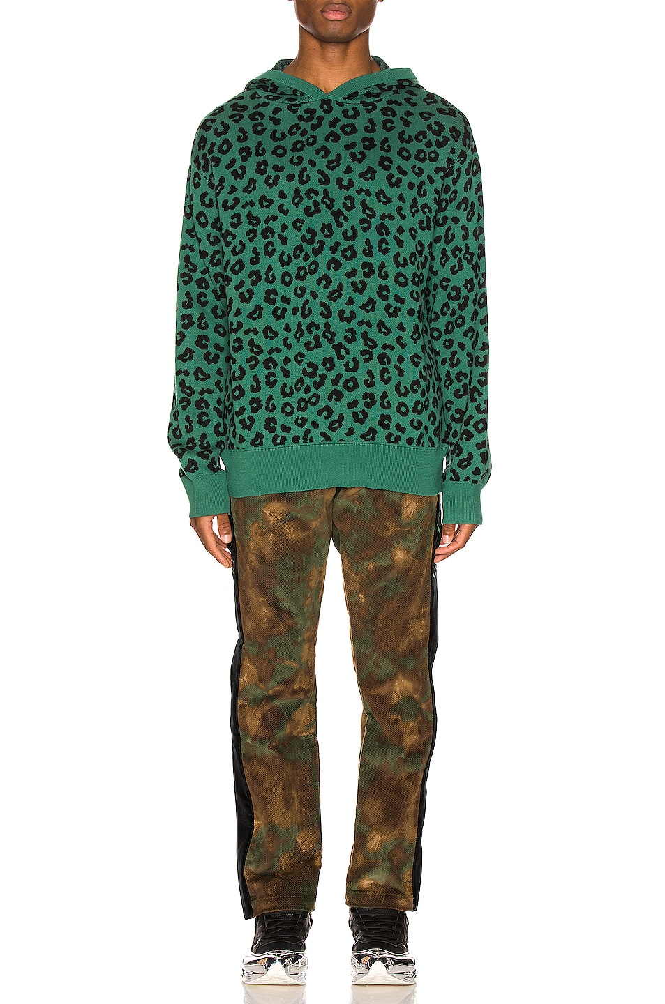 Image 4 of Just Don Jungle Leopard Sweater Hoodie in Green