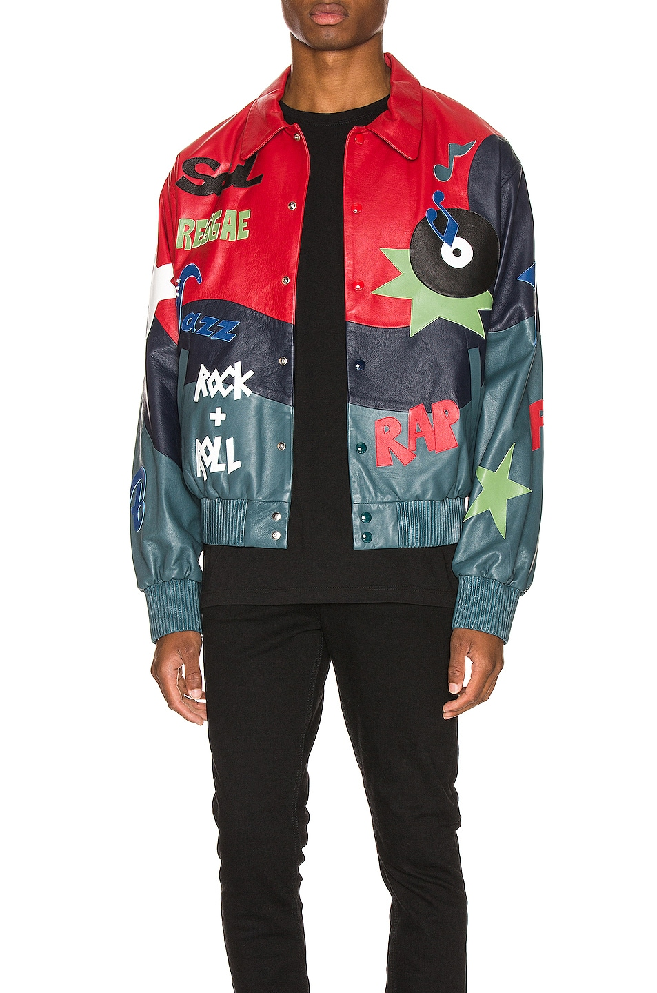 Image 1 of Just Don The Sound Leather Jacket in Red Color Block