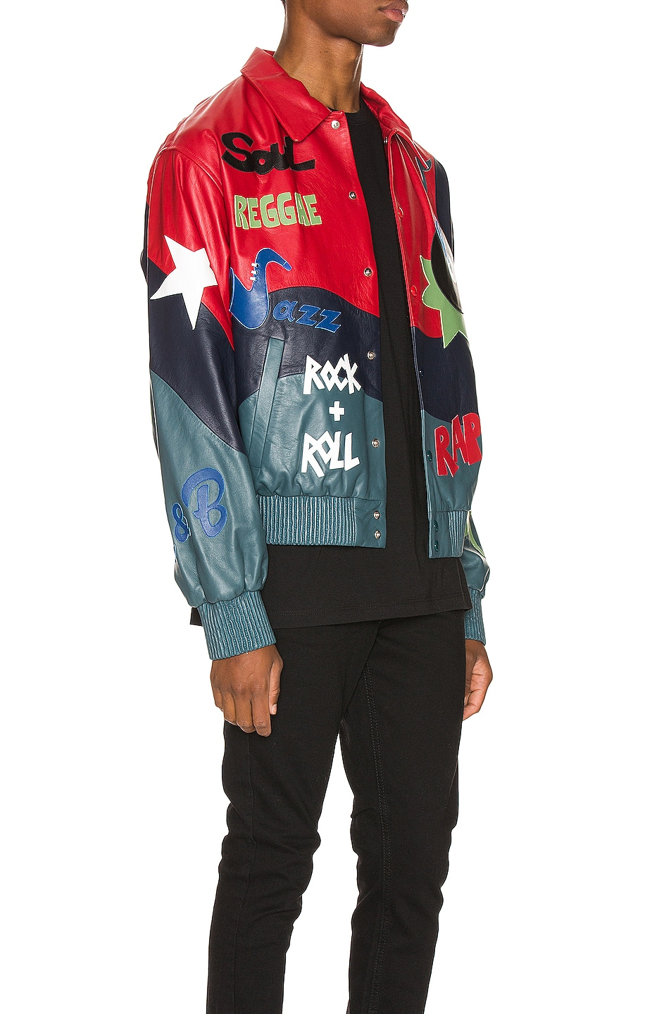 Image 3 of Just Don The Sound Leather Jacket in Red Color Block