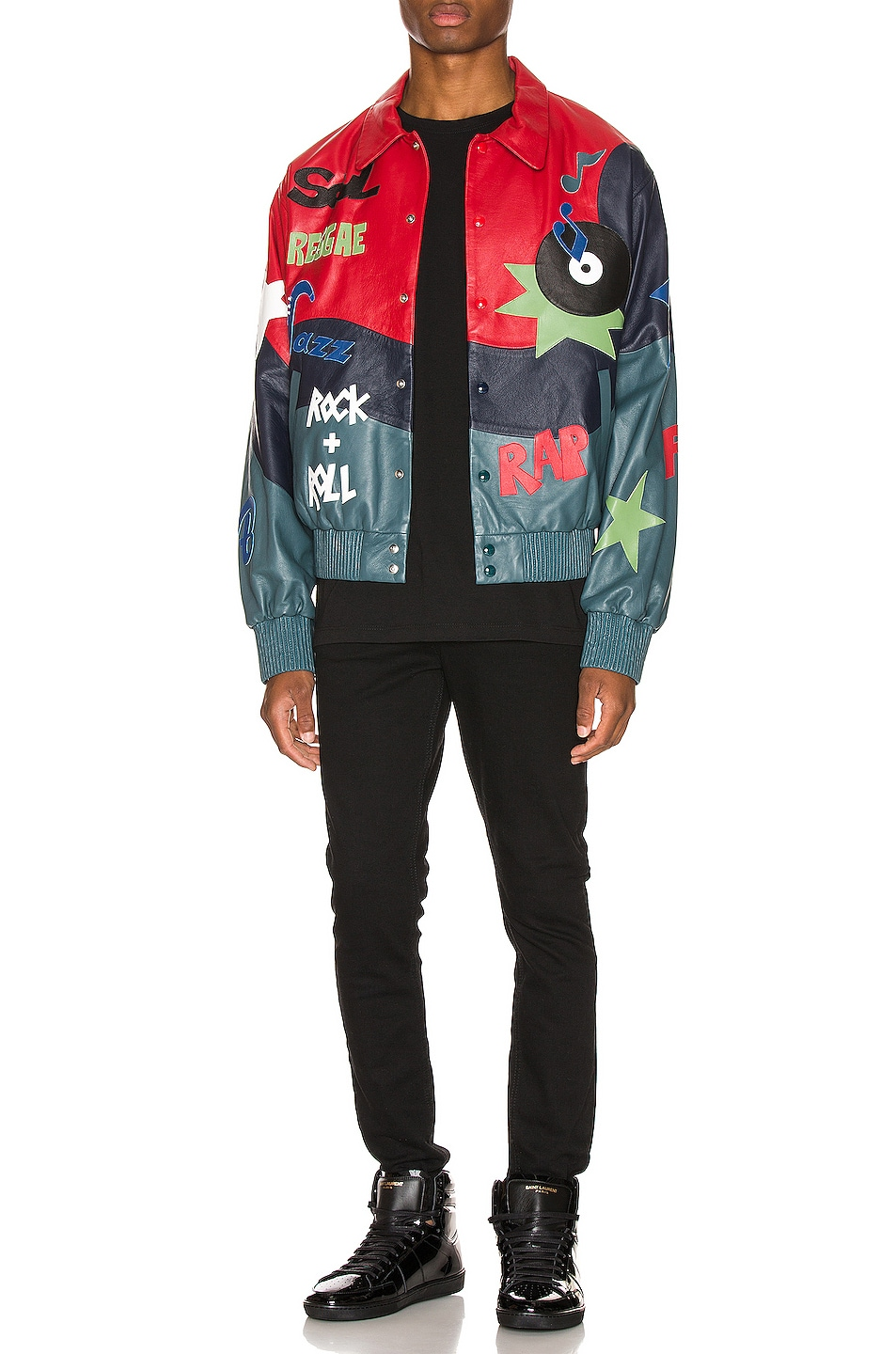 Image 6 of Just Don The Sound Leather Jacket in Red Color Block