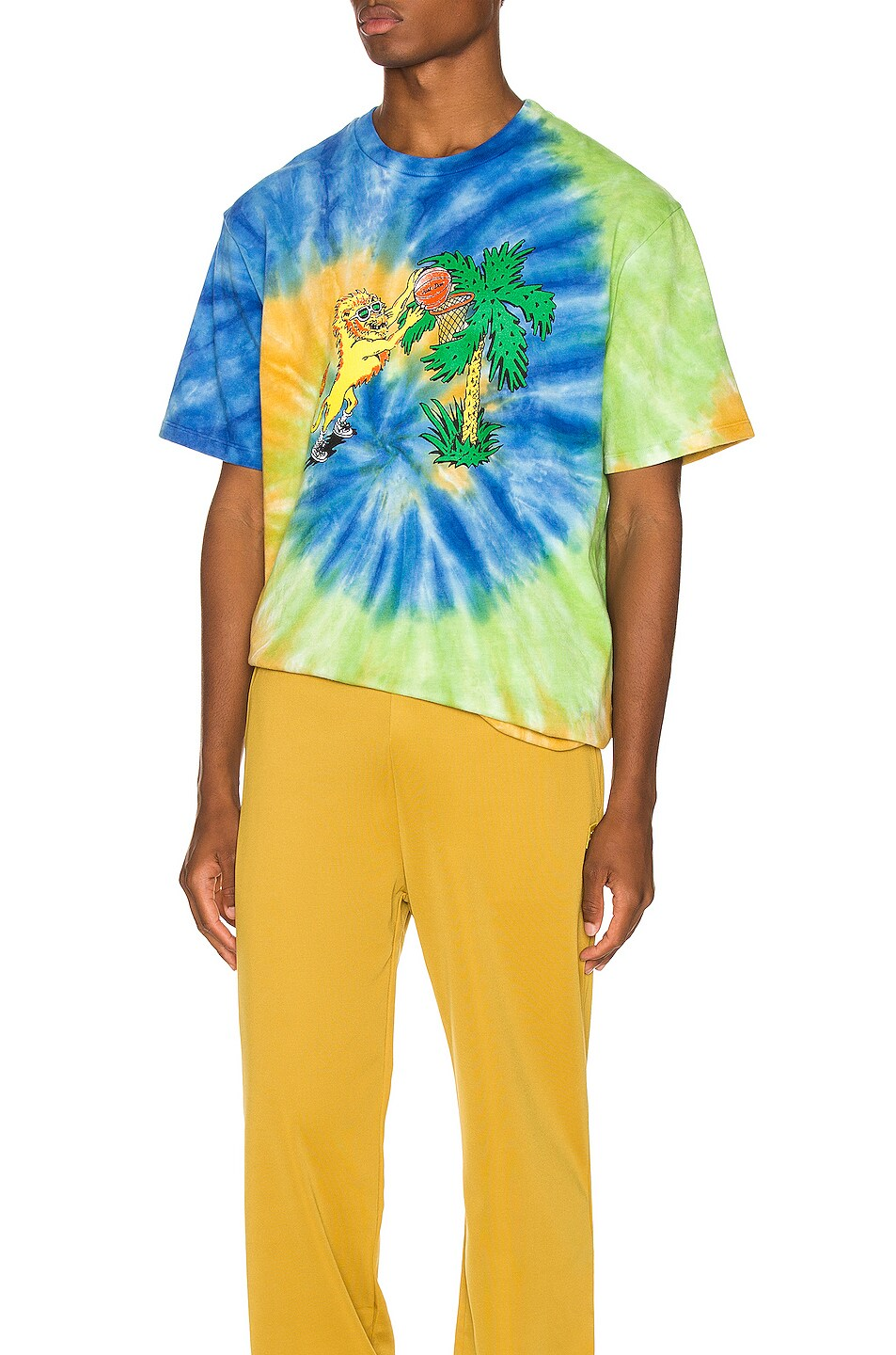 Image 1 of Just Don Lion Basketball Tee in Tie Dye