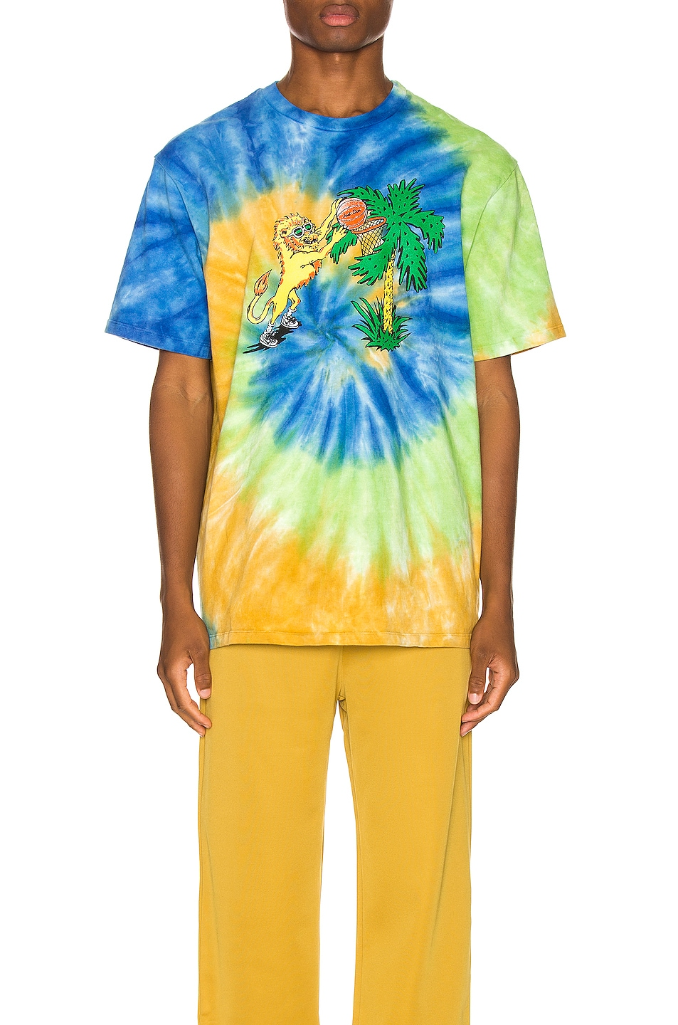 Image 2 of Just Don Lion Basketball Tee in Tie Dye