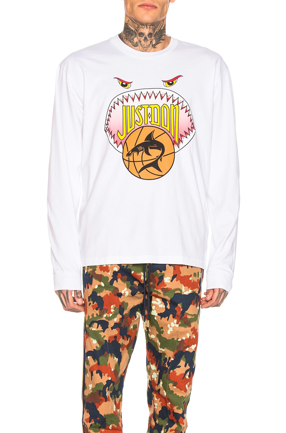 Image 1 of Just Don Shark Mouth Long Sleeve Graphic Tee in White