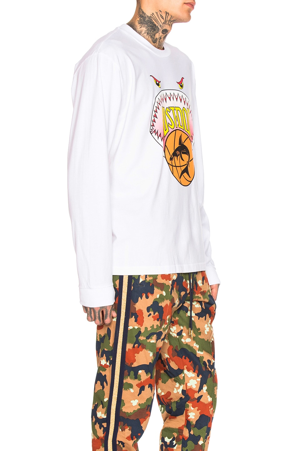 Image 2 of Just Don Shark Mouth Long Sleeve Graphic Tee in White
