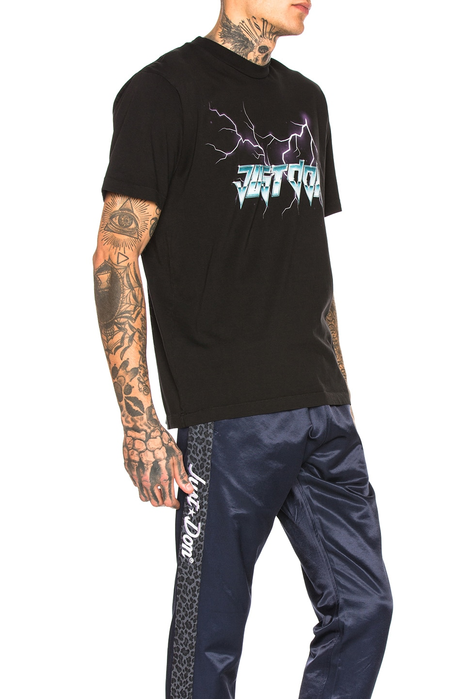 Image 2 of Just Don Electric Lightning Graphic Tee in Black