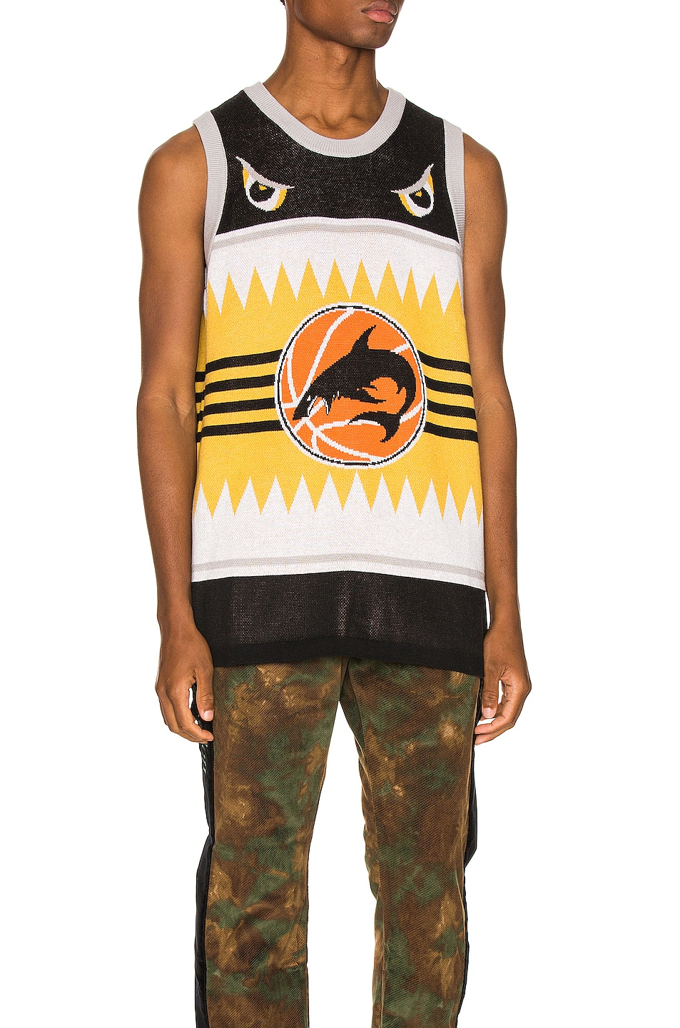 Image 1 of Just Don Shark Basketball Jersey in Black & Yellow