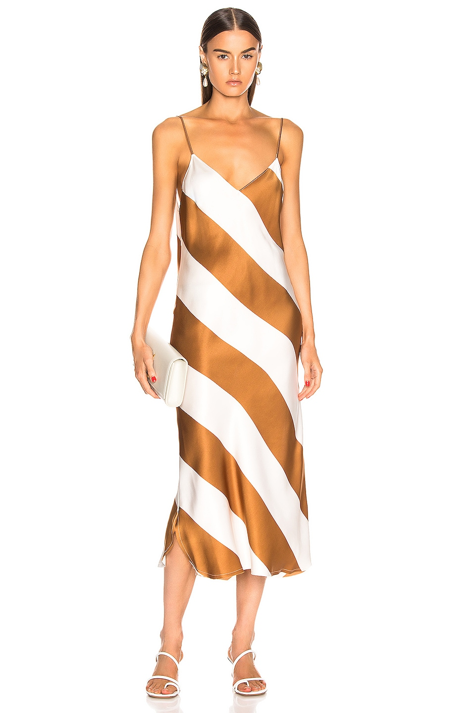Image 1 of Dodo Bar Or Aline Dress in Camel & White Stripe