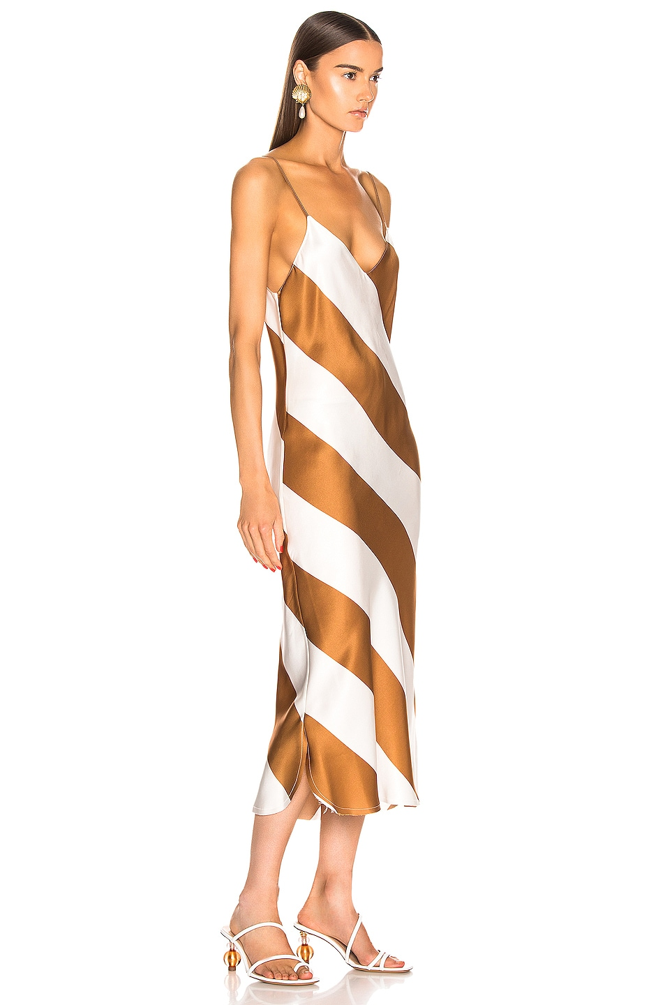 Image 2 of Dodo Bar Or Aline Dress in Camel & White Stripe