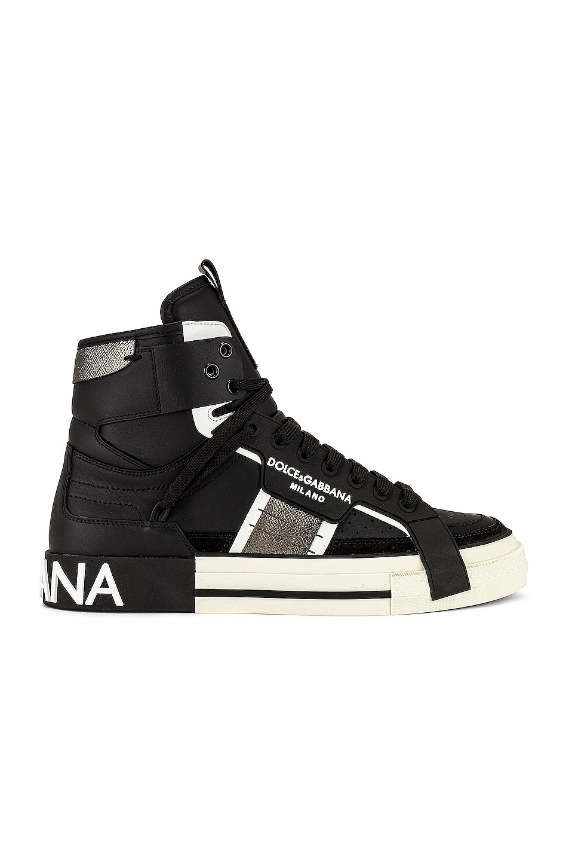 Image 1 of Dolce & Gabbana Custom 2Zero High-Top Sneakers in Black