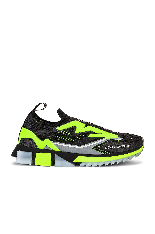 Image 1 of Dolce & Gabbana Sorrento Sneaker in Black & Fluo Yellow