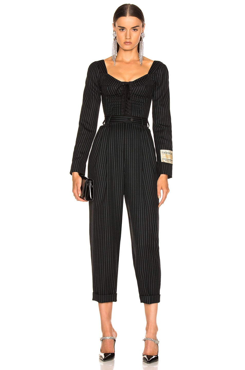 Image 1 of Dolce & Gabbana Long Sleeve Pinstriped Jumpsuit in Black