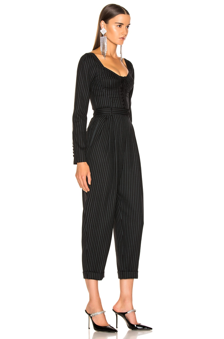 Image 2 of Dolce & Gabbana Long Sleeve Pinstriped Jumpsuit in Black