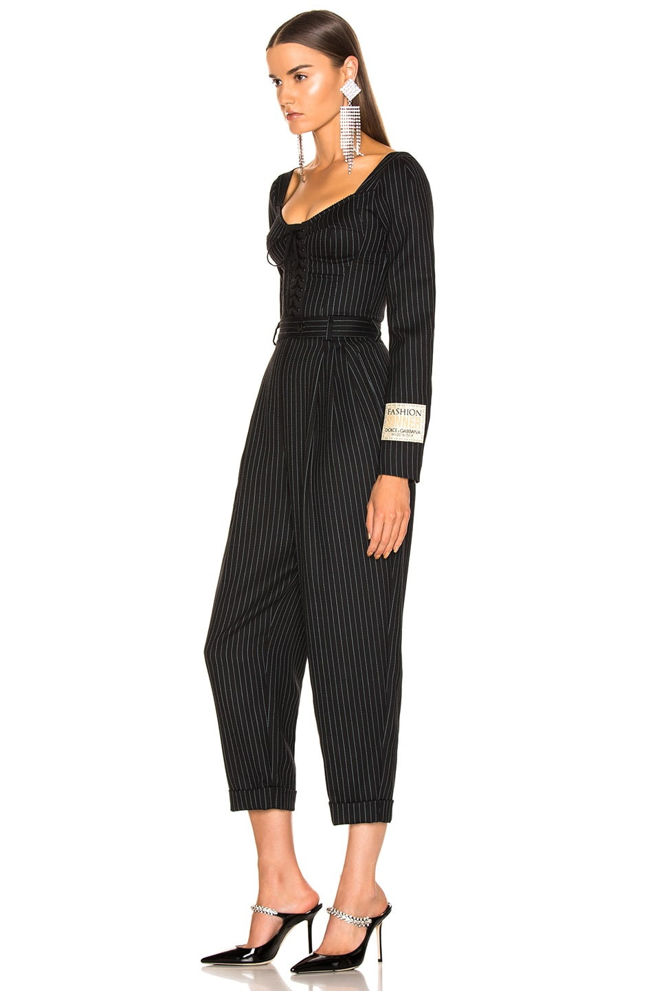 Image 3 of Dolce & Gabbana Long Sleeve Pinstriped Jumpsuit in Black