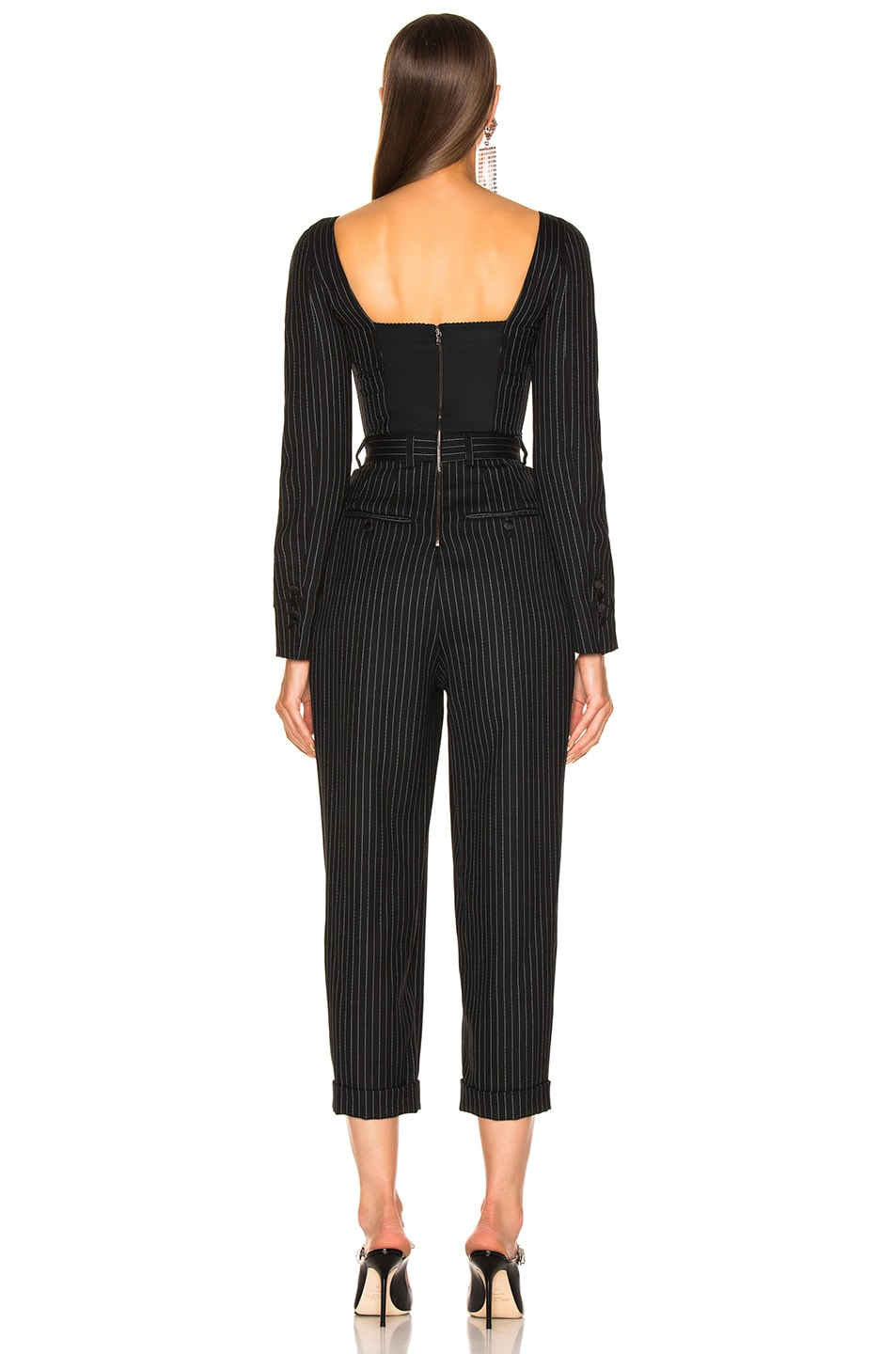 Image 4 of Dolce & Gabbana Long Sleeve Pinstriped Jumpsuit in Black